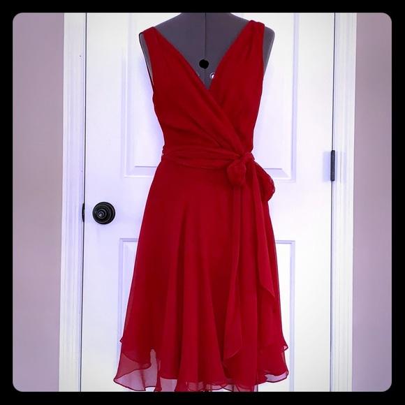 3172cf5a04f0df Ralph Lauren Dresses | Red Silk Chiffon Wrap Dress 4 | Poshmark